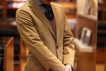 テーラーフクオカ コットン ソラーロ ジャケット スーツ ヘリンボーンツイル