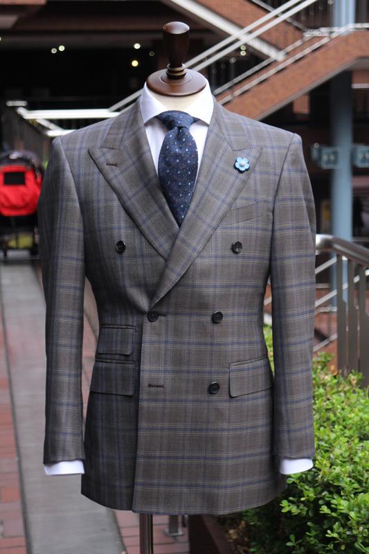 ネイビー&ブラウンチェック ダブルブレストスーツ