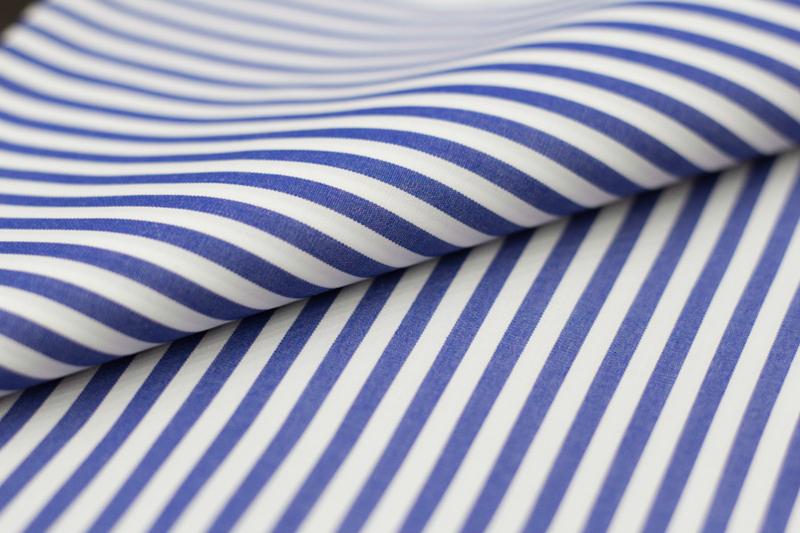 おすすめオーダーシャツ生地 ブルー やや太ロンドンストライプ