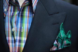 テーラーフクオカ ネイビージャケット×マドラスチェックシャツ スタイリング コーディネート-2