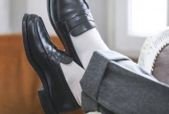 テーラーフクオカ オリジナル ホワイトロングホーズ ホワイトソックス 白靴下 コーディネート
